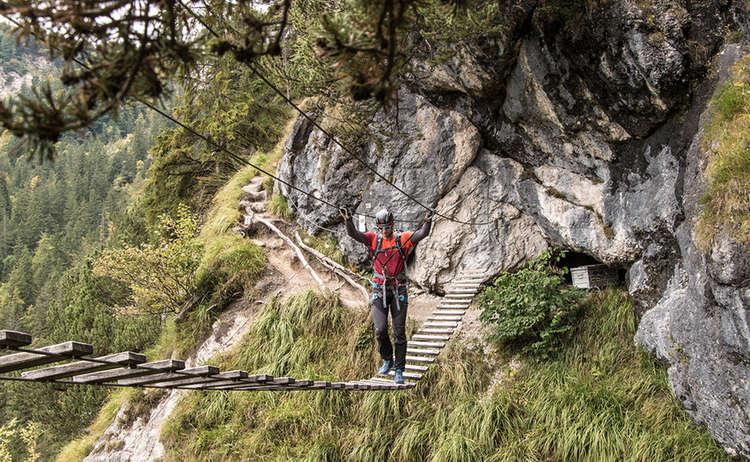 Gruenstein Klettersteig Haengebruecke