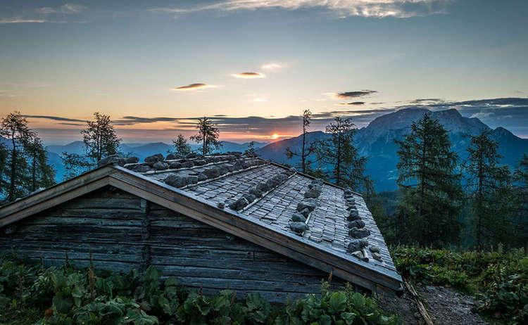 Sonnenuntergang während des Aufstiegs zum Watzmannhaus